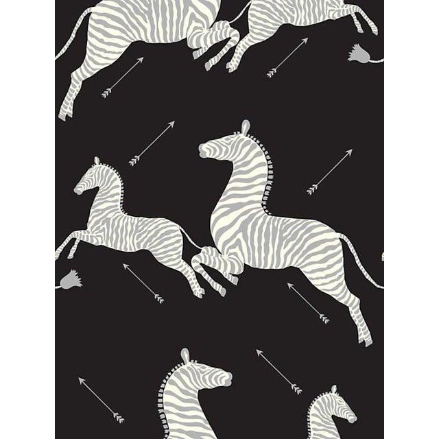 Sample, Scalamandre Zebras, Black & Silver Wallpaper For Sale