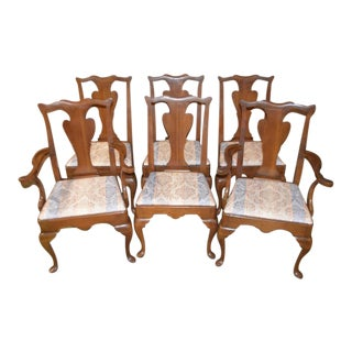 1970s Traditional Style Cherry Dining Chairs - Set of 6 For Sale