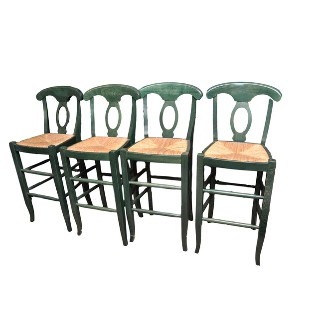 Rush Seat Bar Stools - Set of 4 - Image 1 of 4