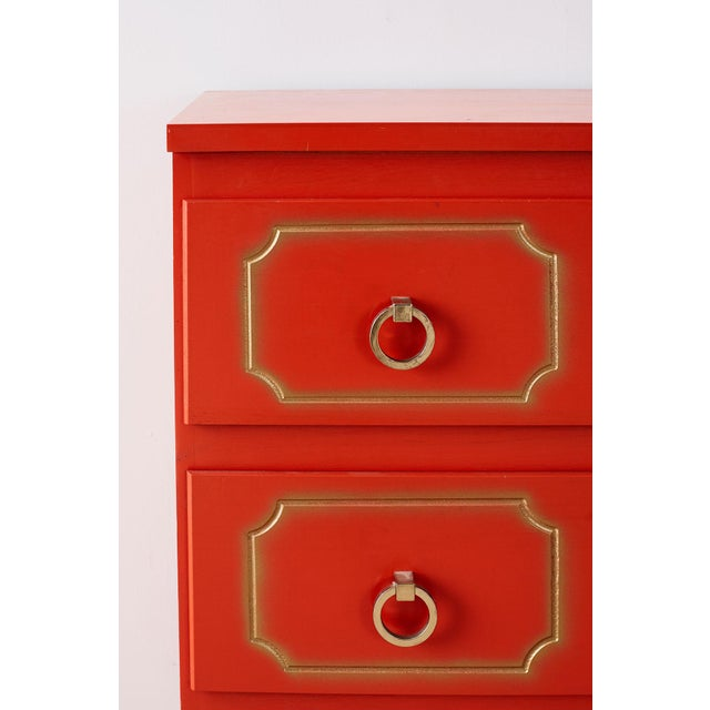 Dorothy Draper Style Coral Red Commode or Chest For Sale In San Francisco - Image 6 of 13