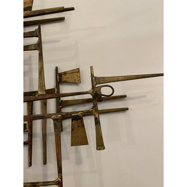 Abstract Mid Century Modern Brass Wall Sculpture For Sale In Philadelphia - Image 6 of 11