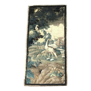 18th Century French Aubusson Verdure Tapestry Fragment With Birds and Windmill For Sale