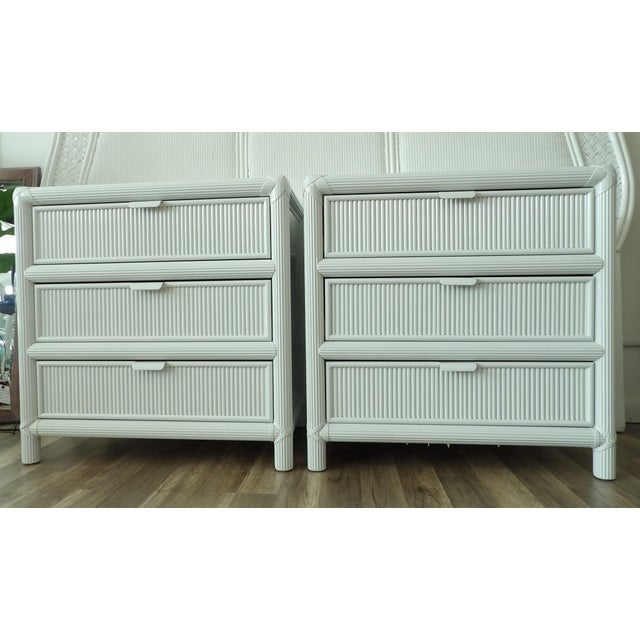 Mid 20th Century Vintage Pencil Reed Rattan 3 Drawer Nightstands - a Pair For Sale - Image 5 of 5
