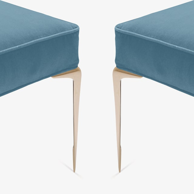 Colette Brass Ottomans in Denim Blue Velvet by Montage, Pair For Sale In New York - Image 6 of 7