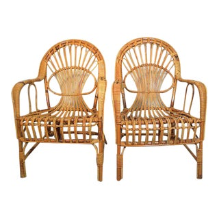 1970s Vintage Albini Style Bamboo Rattan Chairs- A Pair For Sale