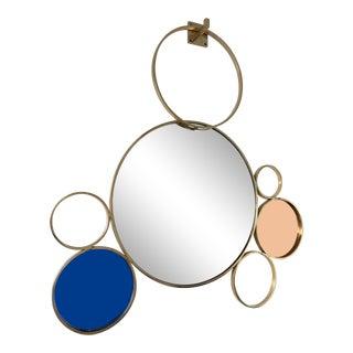 Contemporary 7 Brass Circle Mirror, Italy