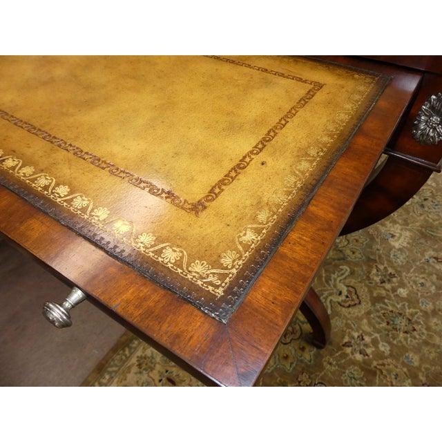 Metal Maitland Smith Regency Style Leather Top Mahogany Writing Desk For Sale - Image 7 of 11