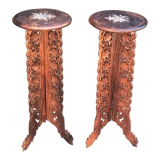 Indian Carved Wood Plant Stand Pedestals- a Pair For Sale
