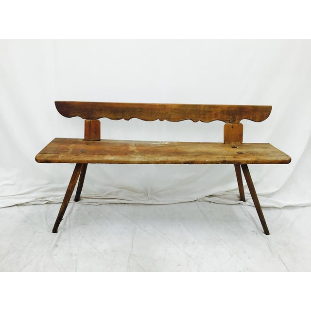 Antique Wooden Farm Bench - Image 5 of 10