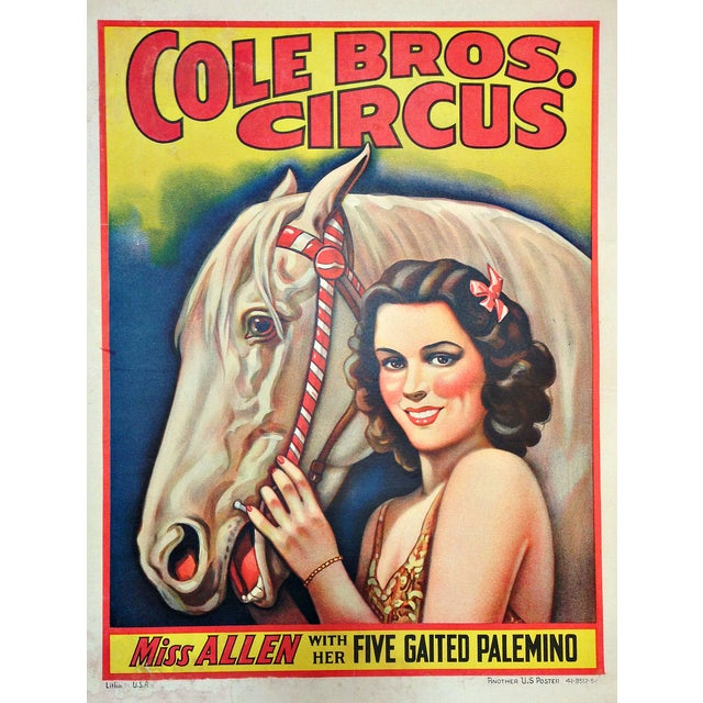 Vintage Cole Bros. Circus Poster For Sale