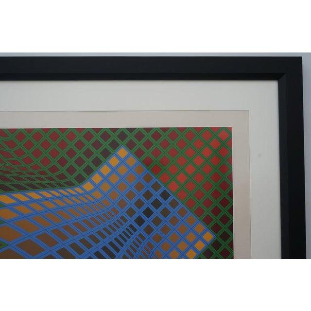 Paper Vintage Vasarely Pencil Signed and Numbered Limited Edition 67/250 Op Art Original Print Custom Framed For Sale - Image 7 of 11