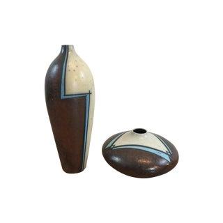 Raku Pottery Vases - A Pair