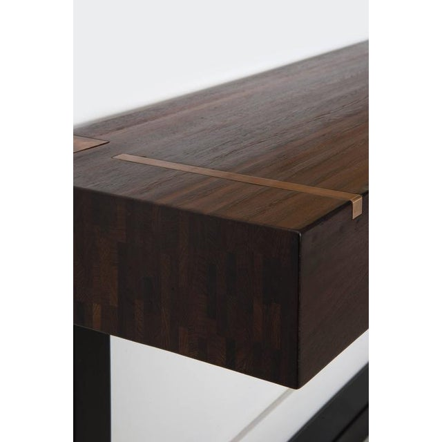 Contemporary design console table, using Jules Wabbes designed wenge end-grain wood top original from the 1960s....