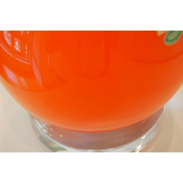 Glass Vintage Murano Glass Long Neck Lamps Orange For Sale - Image 7 of 7