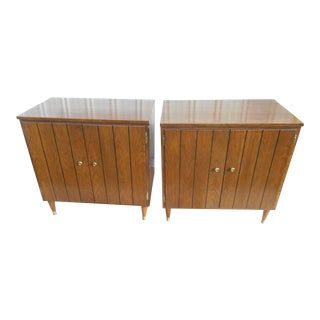 Vintage Mid-Century Modern Walnut Nightstand/Storage/Record Cabinets- a Pair For Sale