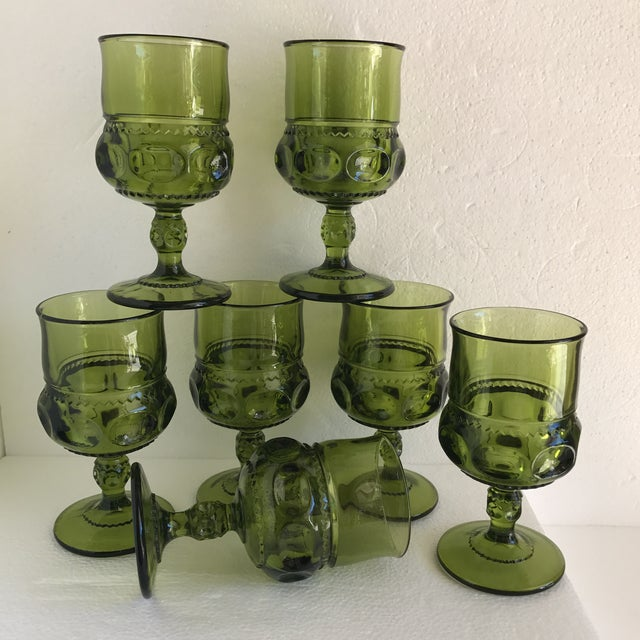 Mid-Century Green Goblet Glasses - Set of 7 For Sale - Image 10 of 10