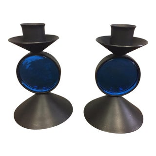 Erik Hoglund for Ystad Metall Black Metal & Blue Glass Candleholders - A Pair