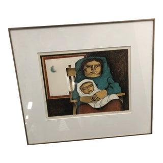 """Original """"Sonando"""" Lithograph Signed by Jorge Dumas For Sale"""
