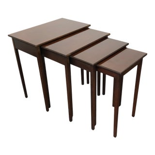 Traditional Federal Style Mahogany Nesting Tables - 4 For Sale