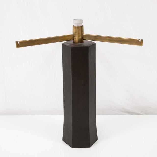 Antoine Callebaut Pair of modern lamp Dark patinated bronze, brass, fabric Belgium, circa 1970
