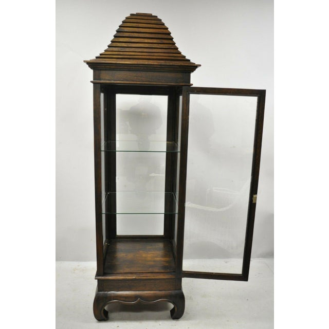 Chinoiserie Vintage Chinoiserie Pagoda Top Wooden Curio Display Cabinet Beehive Ming Legs For Sale - Image 3 of 11