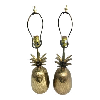 Brass Pineapple Table Lamps - a Pair For Sale
