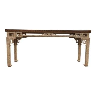 1970s Hollywood Regency Drexel Greek Key Console Table For Sale