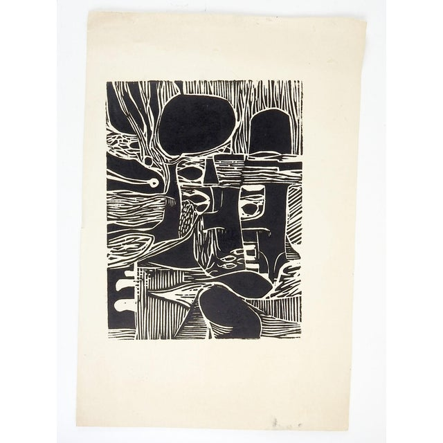 """Black and white abstract block print on paper. Unsigned. Unframed, image size 8.5""""L x 11.5""""H, age toning, edge wear."""