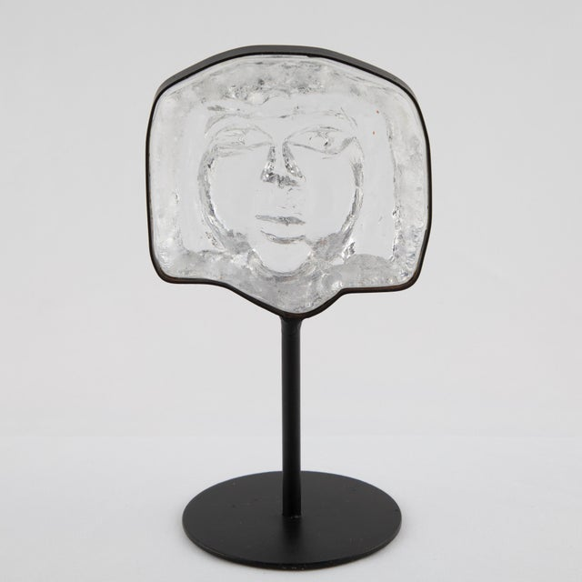 Black Glass Face Sculpture on Iron Stand by Erik Hoglund for Kosta Boda Circa 1960s For Sale - Image 8 of 12