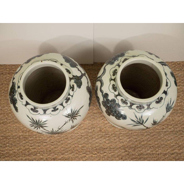 Pair of Black & White Chinese Export Jars - Image 7 of 9