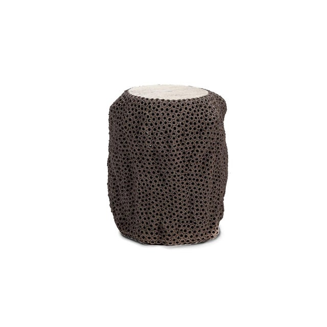 2010s Gilles Caffier Mocha Colored Hand Built Pierced Earthenware Side Table, For Sale - Image 5 of 5
