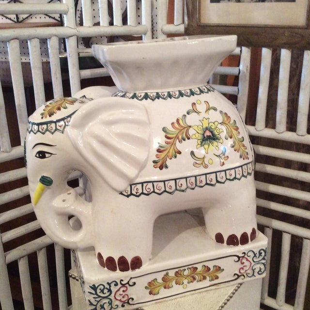 1970s 1970s Vintage Ceramic Elephant Garden Stool For Sale - Image 5 of 6