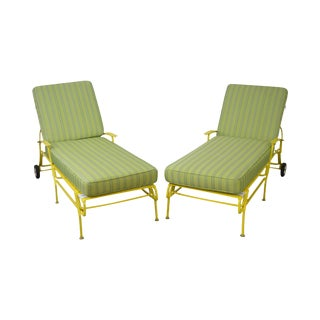 Mid Century Modern White & Yellow Vinyl Strap Pair of Patio Chaise Lounges