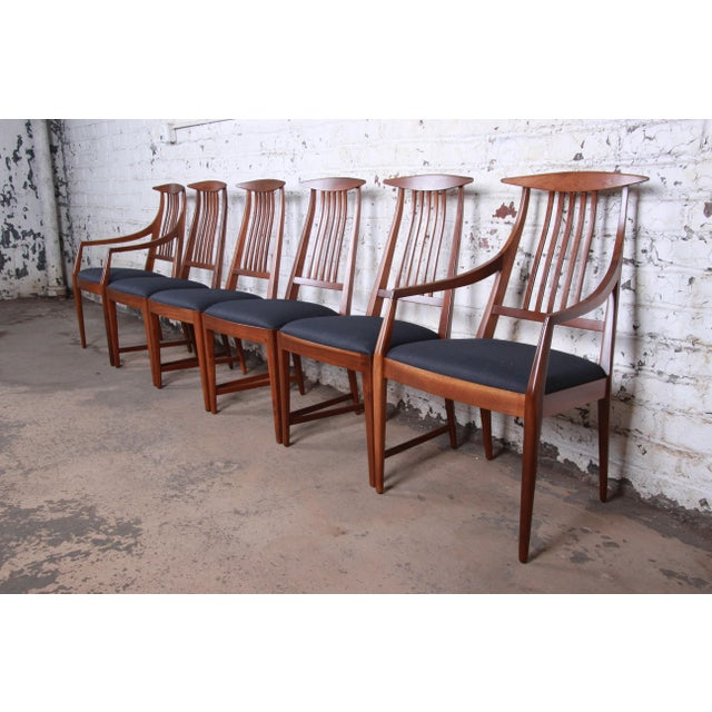 Kipp Stewart for Calvin Mid-Century Modern Walnut and Rosewood Dining Set, Newly Restored For Sale - Image 9 of 13