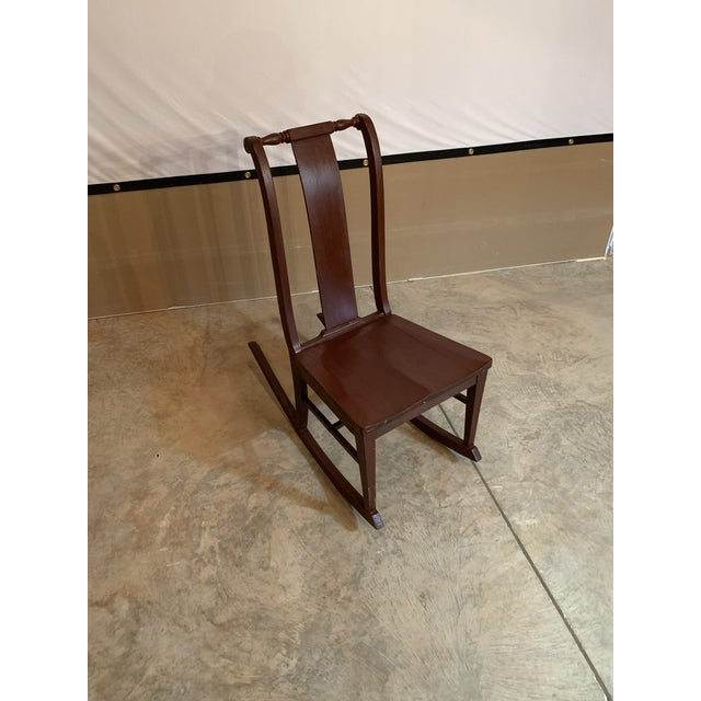Antique Carved Scrolled Splat Back Solid Wood Brown Painted Children's Rocking Chair For Sale In Lexington, KY - Image 6 of 13