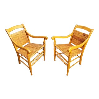 Vintage Bohemian Warm Wood and Wicker Chairs - a Pair For Sale