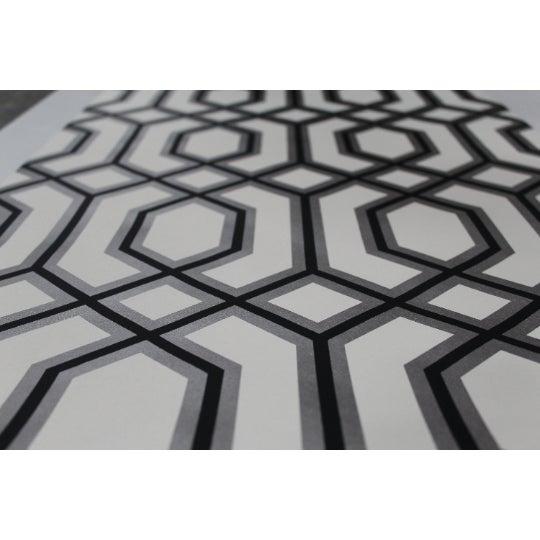 Cream, silver & black metallic printed paper wall covering! Nonwoven paperback. Class A. Commercial grade wallpaper....