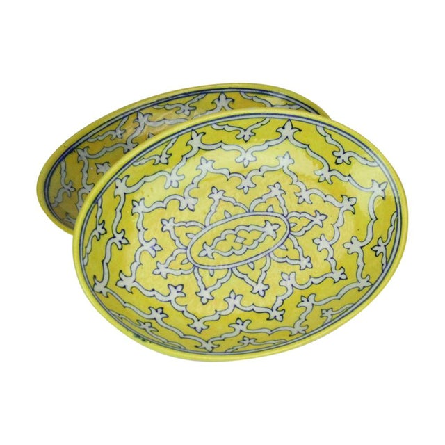 Goldenrod Jaipur Platters - A Pair For Sale In Los Angeles - Image 6 of 6