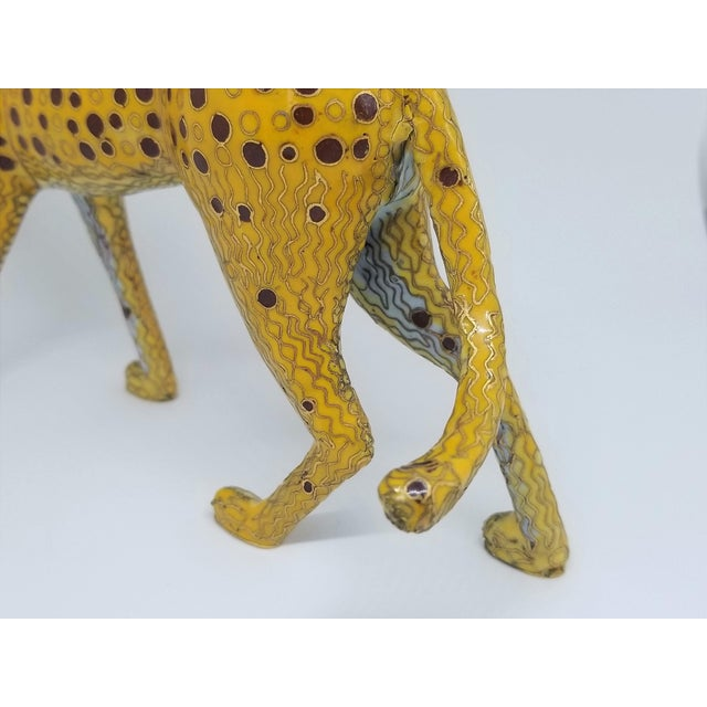 Yellow Cheetah - Vintage Cloisonne Enamel and Brass Sculpture - Mid Century Modern Palm Beach Boho Chic Animal Tropical Coastal For Sale - Image 8 of 12