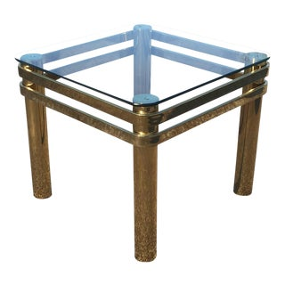 Pace Hollywood Regency Brass & Glass Table For Sale