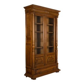 19th Century French Henri II Style Walnut Bookcase For Sale