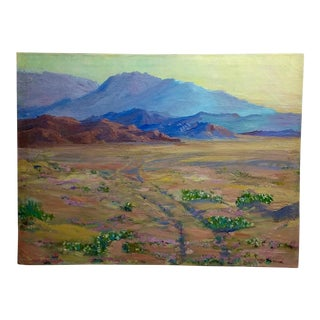 James Merriam California Desert Wildflowers Oil Painting -Impressionist, 1930 For Sale