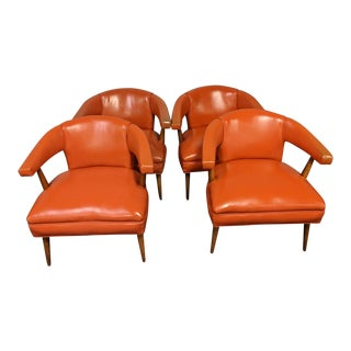 1970s Vintage Orange Vinyl Club Chairs- Set of 4 For Sale