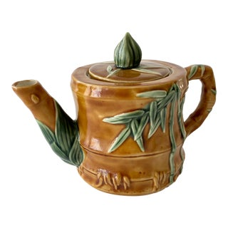 Vintage Ceramic Teapot With Bamboo Relief Carving For Sale