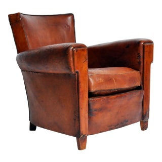 Art Deco French Leather Chair with Original Patina