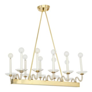 Mid-Century Brass and Glass Chandelier For Sale