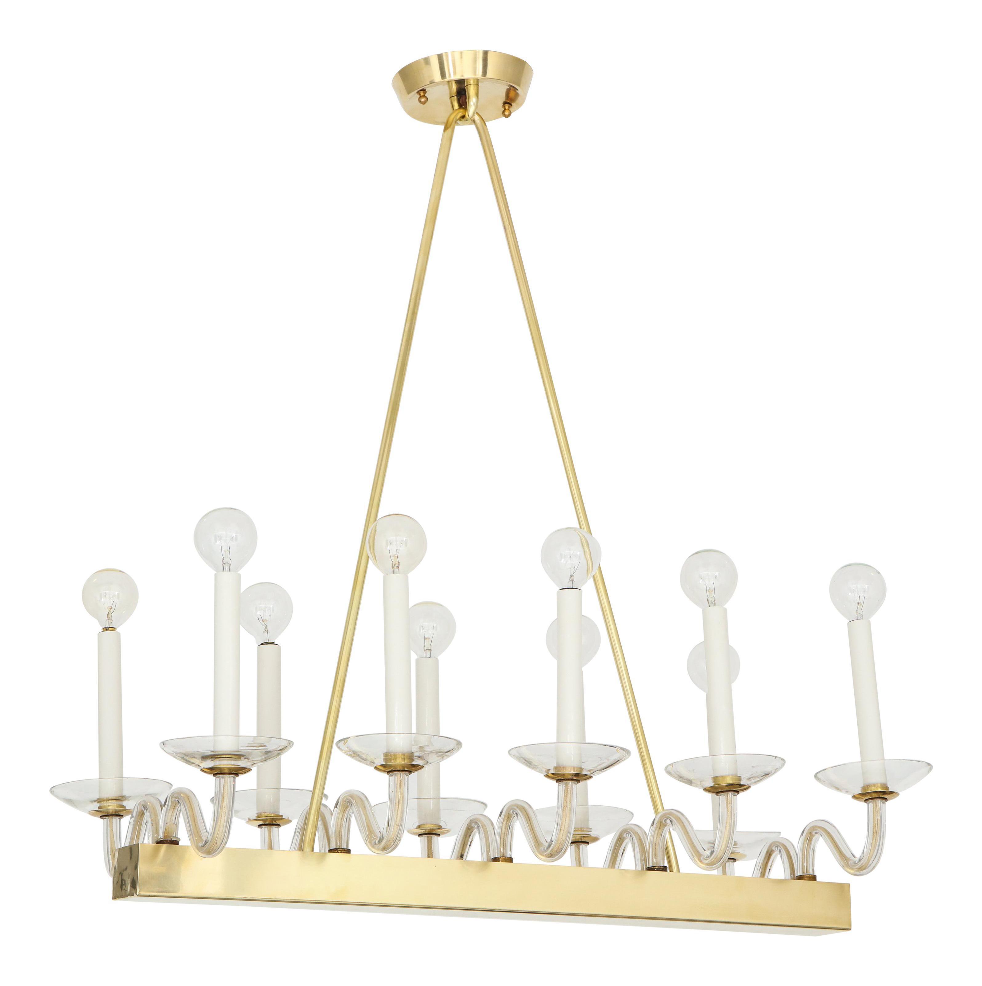 Mid Century Brass And Glass Chandelier Chairish