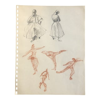 Figure Studies With Ice Skaters 1950s For Sale