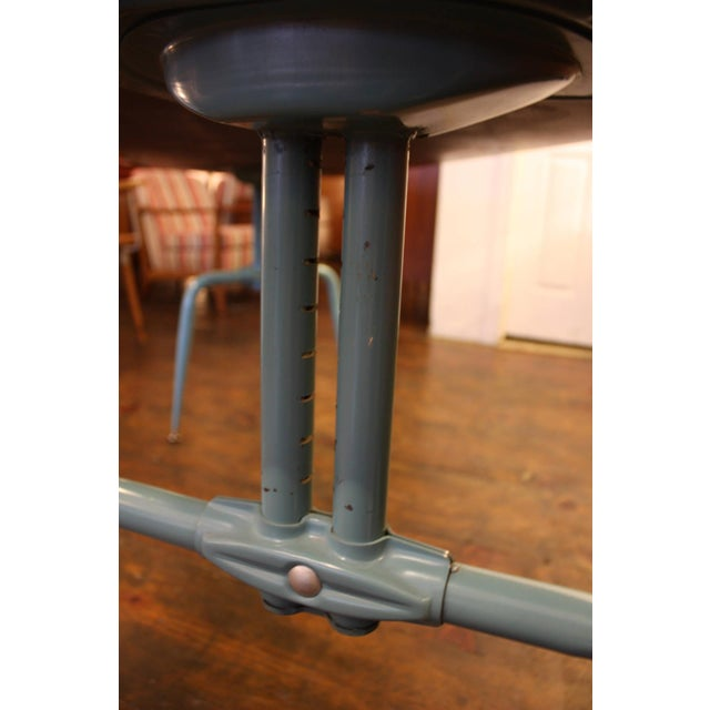 1950s French Laminated Plywood and Steel Adjustable Table - Image 7 of 10