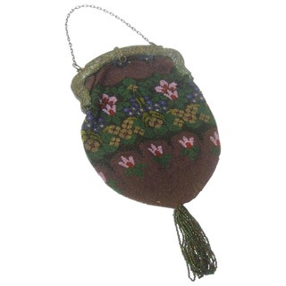 Exquisite Glass Hand Beaded Flower Evening Bag Ca 1920s For Sale